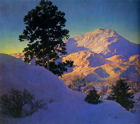 Maxfield Parrish. Winter landscape. Sunrise