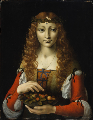 Giovanni Ambrogio de Predis. Girl with cherries