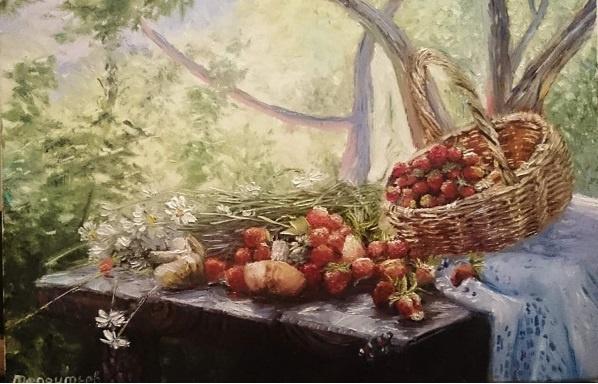 Evgeny Vladimirovich Terentyev. Still life with strawberries and mushrooms