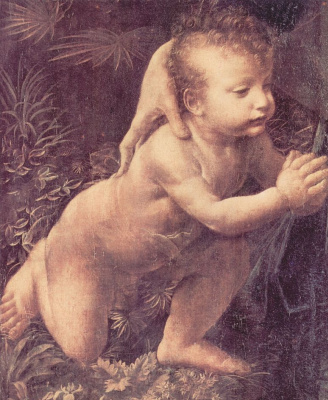 Leonardo da Vinci. Virgin of the rocks (detail)