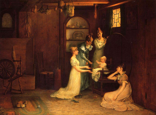 Francis Davis Millet. Playing with baby
