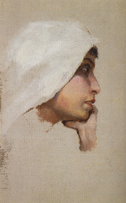 "Vasily Dmitrievich Polenov. Head of a young woman in a white blanket. A sketch for the painting ""Christ and the sinner (Who without a sin?)"""