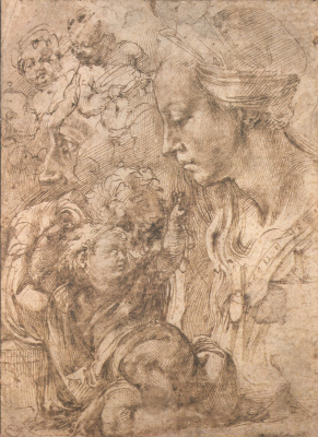 Michelangelo Buonarroti. Sketch of Madonna and pictures