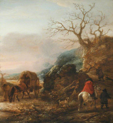 Исаак Янс ван Остаде. Пейзаж с всадником и повозкой