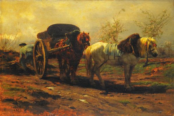 Роза Бонёр. Телега с двумя лошадьми