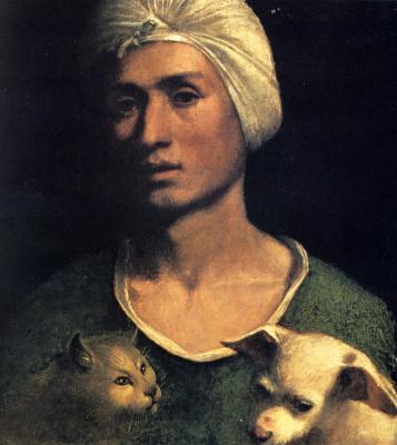 Доссо Досси. Портрет молодого человека с собакой и кошкой