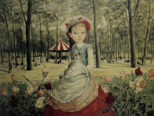 Цугухару Фудзита (Леонар Фужита). Девушка в парке