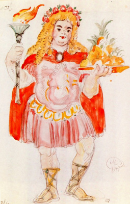 "Mstislav Valerianovich Dobuzhinsky. Costume design of Comus to Comedy, Brule and Palabra ""Lawyer Patlen"""