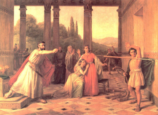Константин Хансен. Саул, бросающий свое копье в Давида