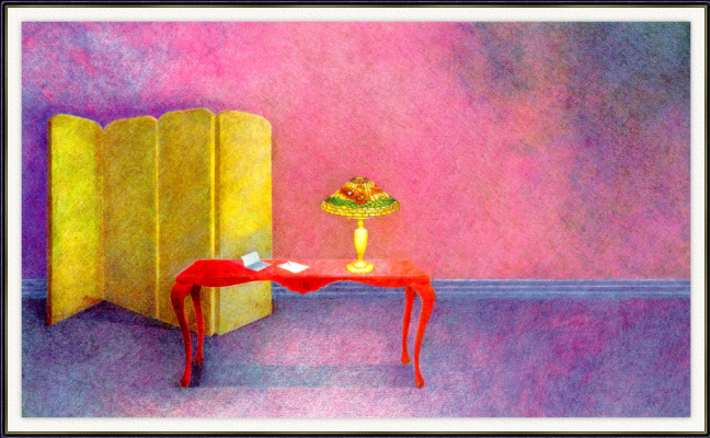 Фиолетовый интерьер с лампой