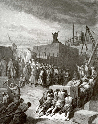 Paul Gustave Dore. Illustration to the Bible: the restoration of the Temple of Jerusalem