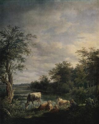 Макс Йозеф Вагенбауэр. Пейзаж с коровами