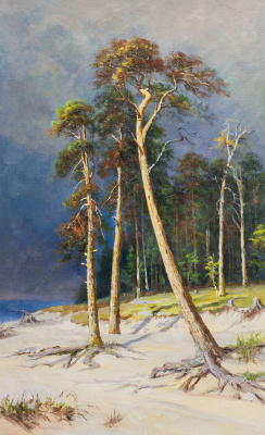 "Savely Kamsky. Copy of Ivan Shishkin's painting ""Pines on a sandy beach"""