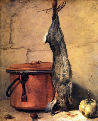 Jean Baptiste Simeon Chardin. Still life with rabbit, quince and a copper boiler