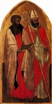 Tommaso Masaccio. Saint Blaise (Blasius) and Saint Bartholomew. Triptych San Jovenale