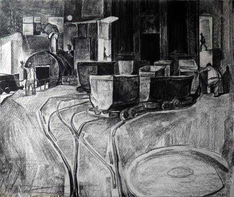 Valentin A. Shavrin. Kochegarka Mine. paper / charcoal. 47х55.