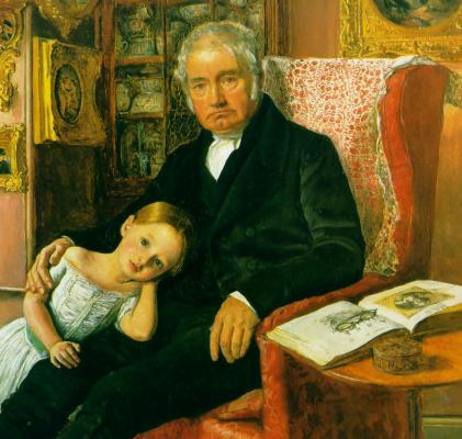 John Everett Millais. Portrait of James Wyatt and his granddaughter Mary. Fragment