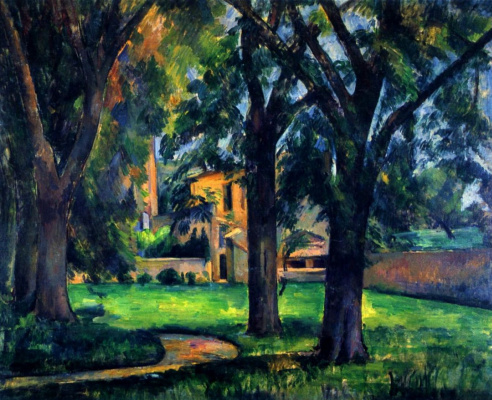Paul Cezanne. Chestnut trees and outbuildings in Ms. de Bouffan
