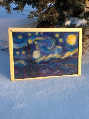 Неизвестный  художник. Звездная ночь Ван Гога (репродукция из шерсти)