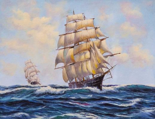 Daria Feliksovna Lagno. Sailboats. In full sail N2