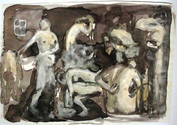 Zinaida Serebryakova. Bath. Sketch-a variant of the same picture