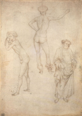 Antonio Pisanello. Two figures of naked youths and the figure of St. Peter