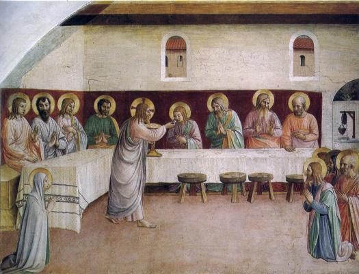Фра Беато Анджелико. Тайная вечеря: Причастие апостолов. Фреска монастыря Сан Марко, Флоренция