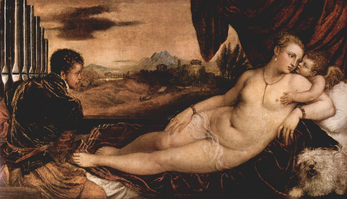 Titian Vecelli. Venus with a cavalier playing on the organ, and Cupid