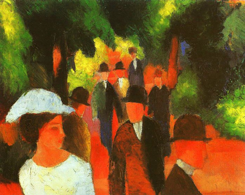 August Macke. Woman in white hat