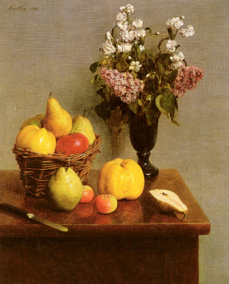 Henri Fantin-Latour. Still life with flowers and fruit