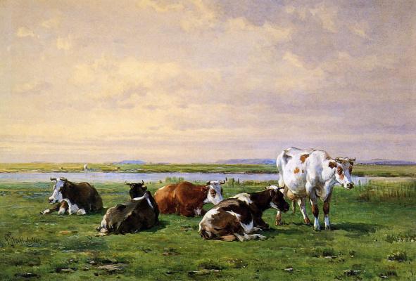 Питер Стортенбекер. Коровы на лугу