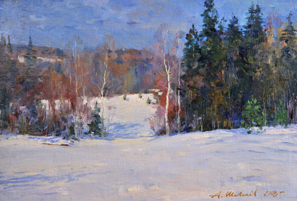 Alexander Victorovich Shevelyov. Winter sketch.canvas on cardboard,oil 34 # 49,5 cm 2008