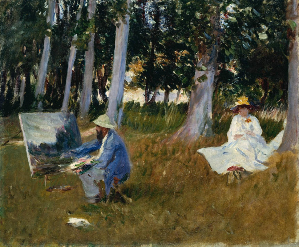John Singer Sargent. Claude Monet painting at the edge of the forest