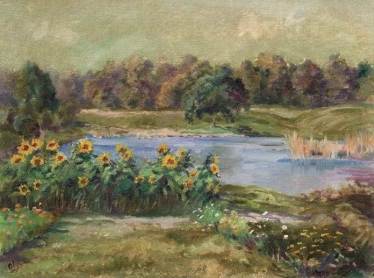 Olga Alexandrovna Romanova. Sunflowers by the pond
