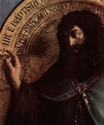 Губерт ван Эйк. Гентский алтарь, алтарь мистического агнца, центральная часть, сцена: Иоанн Креститель на троне, деталь