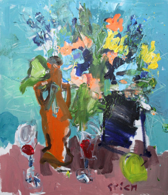 Ilya Pavlovich Spichenkov. Bouquet with a bottle of wine
