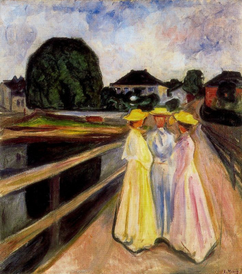 Edward Munch. Three girls on the jetty
