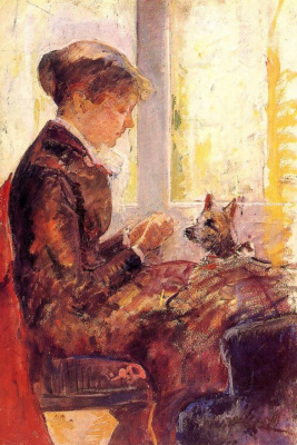 Mary Cassatt. The woman feeds the dog
