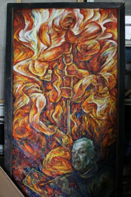 Владимир Семенович Мурахвер. Автопортрет на фоне процесса выдувания стекла.