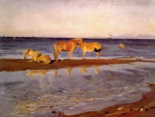 Valentin Aleksandrovich Serov. Horses on the beach