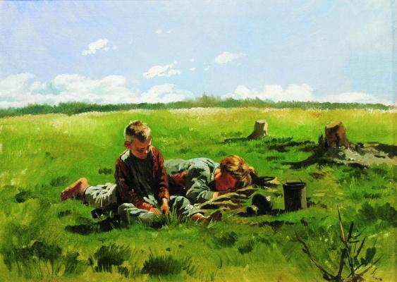 Vladimir Egorovich Makovsky. Boys in the field