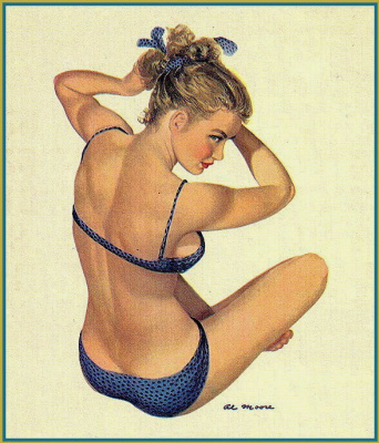 Al Moore. Blue swimsuit