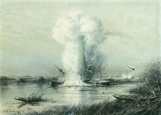 Alexey Petrovich Bogolyubov. The explosion of the Turkish ship Russian boats