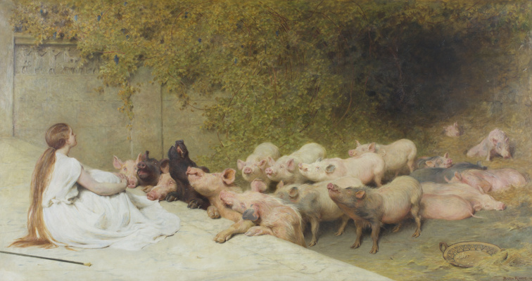 Brighton Riviere. Circe with pigs