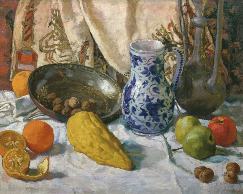 Evgeniy Evgenievich Lansere. Still life with a towel Hadji Murata