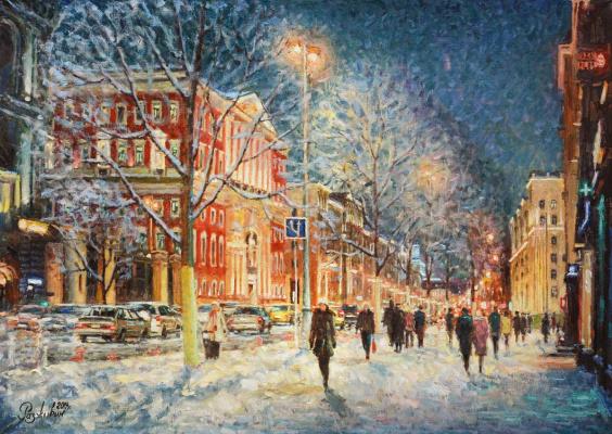Igor Razzhivin. How the snow glistens in the glow of the lanterns...