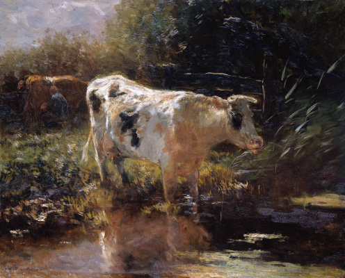 Willem Maris. A cow on the water's edge
