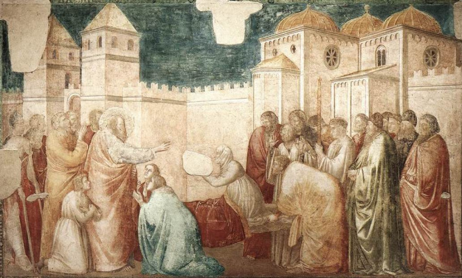Giotto di Bondone. The Resurrection of Druzan. Scenes from the life of John the Evangelist