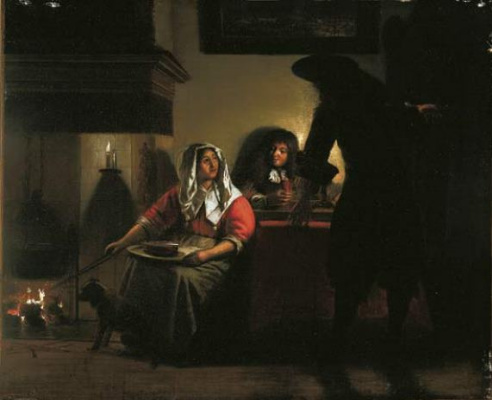 Peter de Hoh. Interior with two men and a woman at your hearth