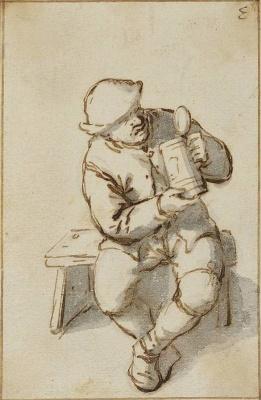 Адриан Янс ван Остаде. Крестьянин на скамейке с открытым кувшином в руках
